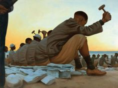 "original oil ""Forced Labor"" from Nelson Mandela, words and paintings by Kadir Nelson. 