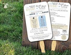Personalized Wedding program fans Wedding Programs Wedding Fans ANY COLOR - Wedding party invitations (*Amazon Partner-Link)