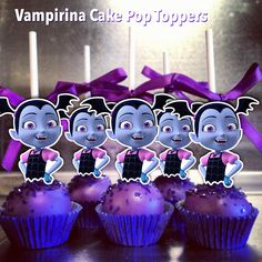 VAMPIRINA CAKE POP TOPPERS/CUTOUTS These cake pop toppers are ONE-SIDED, NON-EDIBLE and printed on MATTE PHOTO PAPER (not cardstock) for better print quality . They are machine-cut for clean and almost perfect cutout. They are a little bit more than 2 inches in height. They arrive to