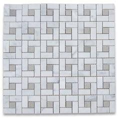 Carrara White Target Pinwheel Mosaic Tile w/ Gray Dots Honed