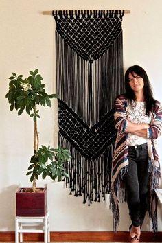 decoração em preto - macramê na decoração de paredes