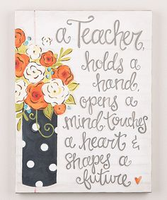 Look at this 'A Teacher Holds a Hand' Canvas on #zulily today!