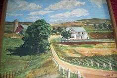 Vintage Oil Painting Rural Country Side Landscape Barns Farming Scene Signed AEH #Realism