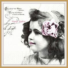 TWO Paper napkins for DECOUPAGE - Sagen Vintage Girl Pink Flower S018 by VintageNapkins on Etsy