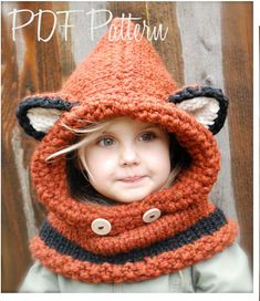 This is the Cutest Pattern Ever! The Failynn Fox Cowl (12/18 months - Toddler - Child - Adult sizes)