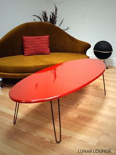 Eliptikal coffee Table Surfboard Eames Era by lunarloungedesign, $210.00 Comes in other colors!  Found this on Etsy