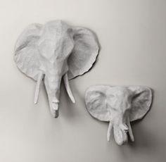 RH Baby and Child Papier-Mâché Elephant Head - Small Elephant: x x Baby Boy Decorations, Baby Boy Room Decor, Baby Boy Rooms, Baby Boy Nurseries, Baby Room, Kids Rooms, Wall Decorations, Bedroom Decor, Elephant Room