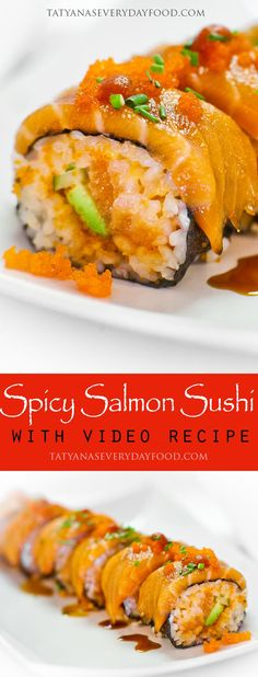 Want to make your own sushi at home? Start with this delicious spicy salmon sushi roll recipe with avocado, cucumber and tobiko! Spicy Salmon Roll, Salmon Sushi, Sushi Sushi, Sashimi, Dessert Chef, Appetizer Dessert, Sushi Roll Recipes, Cooked Sushi Recipes, Asian Recipes