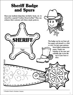 """Have your students bring hats, kerchiefs, boots, etc. to school for a special """"Cowboy Dress-Up Day!"""" They can enhance their costumes with these simple patterns. Cowboy Theme, Cowboy Art, Cowboy And Cowgirl, Western Theme, Cowboy Hat Crafts, Western Crafts, Preschool Themes, Preschool Crafts, Preschool Centers"""