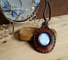 Leather Pendant Vintage Glass Long Necklace by LeatherVision
