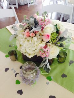 Vintage green pink and white certerpices
