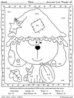 Autumn Addition ~ Math Printables Color By The Code Puzzles To Practice Basic Addition Facts. ~This Unit Is Aligned To The CCSS. Each Page Has The Specific CCSS Listed.~ This set includes 10 fall themed math puzzles to practice basic addition facts. CCSS: 1.OA.6 ; 2.OA.2 ; 3.NBT.2 Set also includes 10 answer keys for the 10 puzzles. $