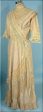 c. 1911/1912 Edwardian Dress of Ecru Silk/Linen with Silk Fringe