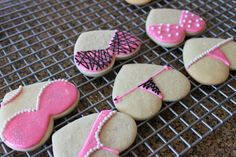 Passion Parties Cookies. My Amiga Julie and I made these for a recent bachelorette/passion party.  They came out great.  We used edible pearls to decorate the panties and bras.  They were a hit everyone loved these cookies. --Bree-- @Julissa Llano Mejia Sorto