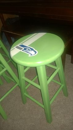 Seahawks counter height hand painted stool!