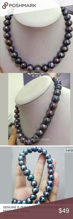 "30% OFF NWT Genuine 8-10m Tahitian black pearl 18"" Brand New Genuine Tahitian black pearl elegant 18"" chocked necklace. 100% natural pearl. Check out my closet, we have a variety of women's, lululemon VS Victoria Secret, handbags purse  Aerosoles, shoes fashion jewelry, pineapple  black choker gold silver necklace, clothing, dress, Beauty, home  .  Ships via USPS. Smoke & Pet-Free. Offers 30% OFF bundle discount. Always a FREE GIFT  with every purchase!!! Thank you. Jewelry Necklaces"