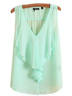 Light Green V Neck Sleeveless Ruffles Chiffon Blouse - Sheinside.com