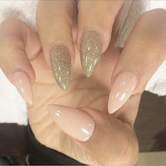 Image via We Heart It #classy #fashion #gold #hand #nails #oval #pink #style