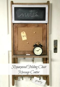Repurposed Vintage Folding Chair Message Center www.homeroad.net #chalkboard #messagecenter #office #diyproect #chairs #repuposedchair