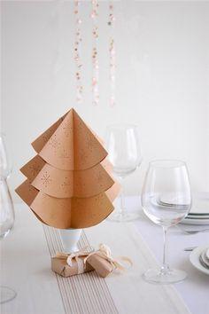 Christmas table decor DIY, Christmas decor table ideas, Holiday Christmas tree star paper DIY