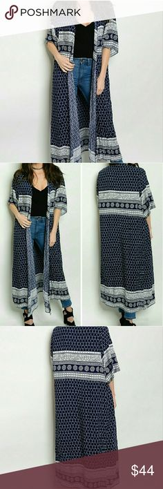 ❣Navy/White Kimono❣ Floor length navy blue and white kimono Short sleeves, open style 100% Rayon, lightweight and Flowy Tops Tunics