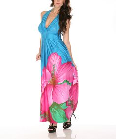 Take a look at this Radzoli Blue & Pink Hibiscus Halter Maxi Dress on zulily today!