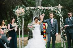 Guests were given personalized blankets to use to stay warm at the ceremony  Venue/Caterer:Temecula Creek Inn