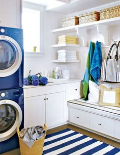 Style at Home blue and white laundry room. Inspiration, shelves
