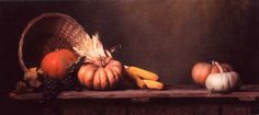 "Still Life with Pumpkins and Corn"" painting by Maureen Hyde,"