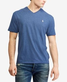 Polo Ralph Lauren Classic-Fit Short-Sleeve V-Neck Tee Plus Size Activewear, Ralph Lauren Tops, Casual Jeans, Workout Shorts, V Neck T Shirt, Tees, Shirts, Mens Tops, Classic