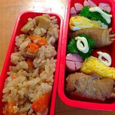 学童最初の弁当はたけのこご飯✊  明日は何にしよう  パターン化して代わり映えしません - 21件のもぐもぐ - たけのこご飯弁当 by kuyu1423