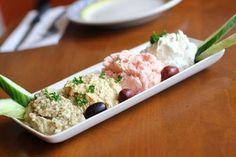 Mezes: a selection of small dishes served in the Middle East and the Balkans. In Levantine and Caucasian cuisines, and in parts of the Balkans, meze is served at the beginning of all large-scale meals.