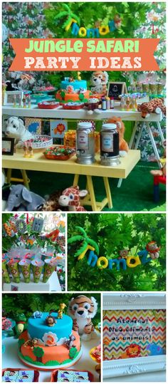 What a fun jungle party! The decorations are amazing! See more party planning ideas at CatchMyParty.com!