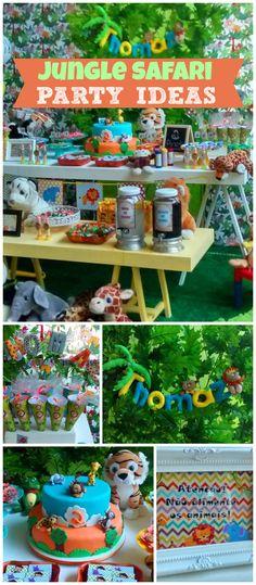 "Safari / Birthday ""Safari do Thomaz"" Jungle Book Party, Safari Theme Party, Baby First Birthday, Boy Birthday Parties, Birthday Ideas, Jungle Safari, Baby Party, Animal Party, Party Planning"