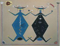 Peinture de sable. les peintures de sable des navajos étaient tracées à même le sol et dispersées aussitôt après la cérémonie qui les nécessitait.