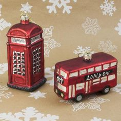 Iconic British Glass Christmas Tree Ornaments - LONDON Bus & Phone Box
