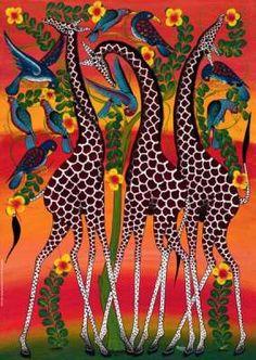 African Art Decor-African Animals Cross Stitch Pattern-Printable Giraffes in the Savanna Embroidery- Giraffe Painting, Giraffe Art, Animal Drawings, Art Drawings, Animal Art Projects, African Art Paintings, Art Tribal, Illustration Art, Illustrations