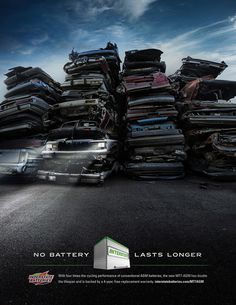 Interstate batteries actually last twice as long as the competition. We wanted to emphasize that these batteries last an exceptionally long time by showing them outlasting cars that have long since met their maker. Jump A Car Battery, Lead Acid Battery, Battery Icon, Off Grid Batteries, Communication Art, Design Competitions, Ad Design, Graphic Design, Magazine Art