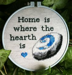 "Home is Where the Hearth is Framed Cross Stitch ""I have not been home for quite some time."" -Odd"