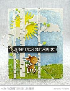 """Carte Oh deer réalisée avec les dies """"Birch Trees"""", """"Stitched valley"""", """"In the clouds"""", """"Radiant Sun"""" et les dies et tampons """"Sweet Forest Friends"""" de chez Kerglaz"""