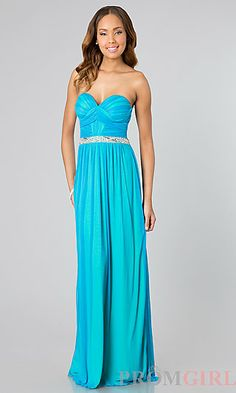 Long Strapless Blue Dress for Prom at PromGirl.com