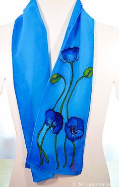 "Silk scarf handpainted~Hand painted scarf~Blue silk scarf~8""x52"" crepe~Poppy…"