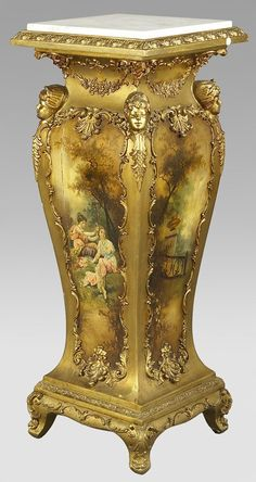 38: Victorian giltwood Vernis Martin style pedestal : Lot 38