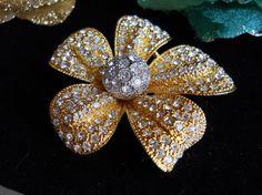 Vintage Rhinestone Encrusted Flower Brooch by JanesVintageJewels, $20.00