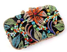 Buy Flower Hollow Cut Hawaii Crystal Evening Clutch,Hundreds of Dazzling Crystal Rhinestones On Encrusted Skull Evening Clutch, Perfect for Formal Occasions