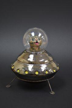 Becky Mancuso.  Lil Bub space cookie jar.  Wheel thrown, sculpted, mixed media