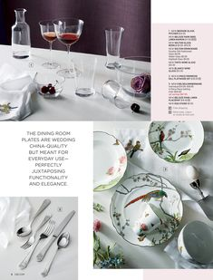 - September Catalog 2018 - Page New Egg, Wedding China, Chinoiserie Chic, Glass Pitchers, Linen Napkins, Salad Plates, Wine Glass, Table Decorations, Tableware