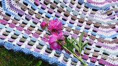 Garden Gate Crochet Afghan, Inspired by Peonies Flowers.