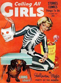 Illustration vintage Halloween 1950s 1960s vintage halloween calling all girls