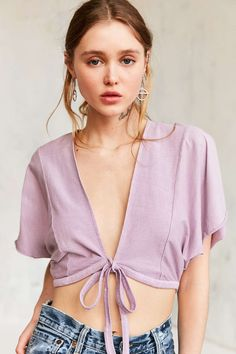 Kimchi Blue Caro Lilac Tie-Front Top - UO
